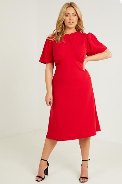 Curve Red Keyhole Midi Dress